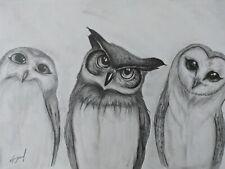 Set of 4 Owl Pencil Drawings Owls Art Original Signed Handmade Animal