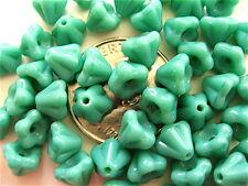 100 Opaque Turquoise Flower Czech Glass Beads 6mm x 4mm