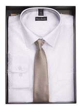 """Mens Formal Suit Cotton Work Shirt and Tie set Boxed Size 15.5"""" Collar to 18"""""""