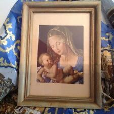 Renassiance religious print Holy Virgin Mary Mother with baby Jesus
