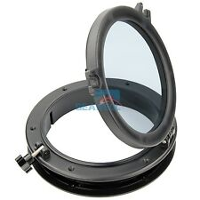 10'' Marine Boat Porthole Plastic Round RV Hatches Port Lights Windows Black