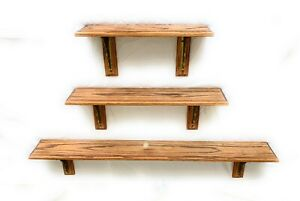 Set of 3 Solid Oak Wood Shelves Traditional Style w/ Plate Groove Medium Finish