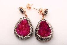 Turkish Jewelry Natural Pink Druzy Swarovski 925 Sterling Silver Earrings