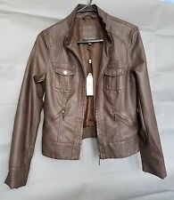 Sophie Max Studio Brown Stretch Leatherette Crop Jacket