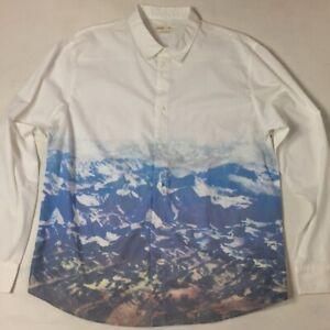 Walker Refinery Shirt Button Down Front Ocean Waves Mountains Long Sleeve Sz XL