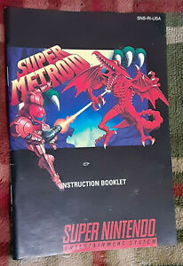 Official vintage Super Metroid instruction manual booklet Nintendo SNES