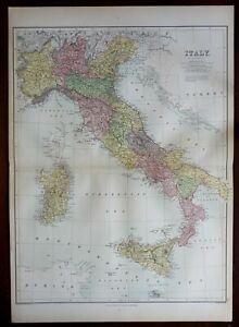 Italy Lombardy Tuscany Naples Rome Genoa Venice Florence 1876 A. & C. Black map