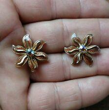 Beautiful vintage Enamel and AB rhinestone flower earrings