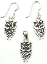 Parure Boucles d'Oreilles+Pendentif en Argent 925 Bijoux chouette hibou owl