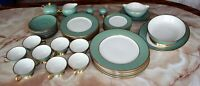 46 Flintridge China Dinnerware Set, California, Sylvan Sage Green w/ Gold Trim