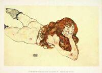 Egon Schiele Auf Bauch liegender Akt Poster Kunstdruck Bild 36x50cm
