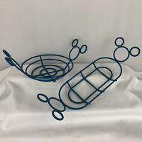 Disney ~ Mickey Mouse Blue Plastic Coated Wire Hamburger & Hot Dog Plate Holders