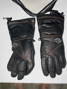 Harley Davidson Heated Leather Gloves Medium, Black Orange Barley. NEW MEDIUM