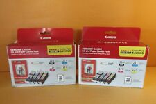 2 Canon 220 Black & 221 Color Combo Packs FREE Shipping!