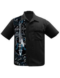 Steady Clothing Guitar Panel Rockabilly Music Bowling Button Down Shirt ST35471