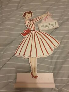 Vintage Waitress Wooden Stand Ornament