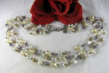 Gorgeous 3 Strand Glass Beaded Glowing  Necklace FERAL CAT RESCUE