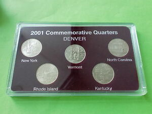 2001 US States Quarters Commemorative, Denver Mint Edition, 5 coins