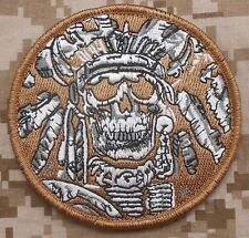 DEATH SKULL WAR CHIEF INDIAN ARMY MILITARY DESERT VELCRO® BRAND FASTENER PATCH