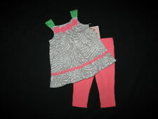 "NEW ""CORAL ZEBRA"" Capri Pants Girls Clothes 18m Spring Summer Boutique Baby"