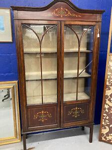 Stunning Antique Edwardian Inlaid Mahogany Glass Display Cabinet, Vitrine