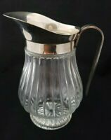 Vintage SHERATONN Silverplate & Ribbed Glass Pitcher With Ice Lip