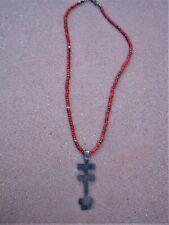 Pendant Necklace-Glass & Silver Beads Tribal Zuni Pueblo Sterling Silver Cross