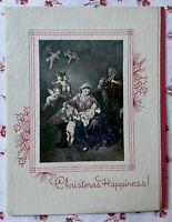 Vintage 1930s UNUSED Christmas Madonna & Child Angels Greeting Card Art Litho