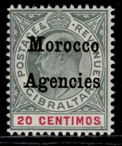 MOROCCO AGENCIES EDVII SG26, 20c grey-green & carmine, LH MINT. WMK MULT CROWN