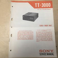 Original Sony Service Manual for the TT-3000 Tuner Timer Unit ~ Repair