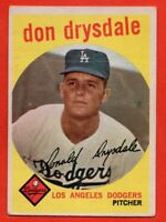 1959 Topps #387 Don Drysdale GOOD+ CREASE HOF Los Angeles Dodgers FREE SHIPPING