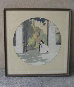 Ettore Tito (Italian, 1859) The Embrace ( The Lovers) Art Deco. 1920s.