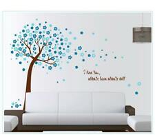 Wandtattoo Wohnzimmer Wandposter Schlafzimmer Baum Blüten Türkis 120 x 150 YD111