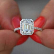 3.12Carat White Emerald Cut Diamond Engagement Wedding Halo Ring 14K White Gold