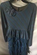Isobella and Chloe Girls Royal Blue and Gray Tiered Party Dress Size 14-New