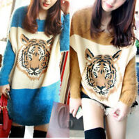 AU SELLER Womens Batwing Sleeve Tiger pattern Sweater Top Jumper Pullover T078