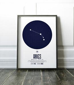 Zodiac Star Signs Print / Picture Aries / Modern / Minimalist Wall Art
