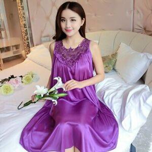 Womens Silk Solid Soft Long Nightdress Satin Lace Lingerie Nightgown Sleepwear