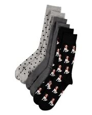 Hot Sox for Men 3-Pack Jack Russell Crew Cotton Blend Socks NWT $28 Size 10-13