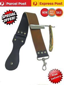 Leather Strop Honing Blade Sharpening Belt + Straight Cut Throat Shaving Razor