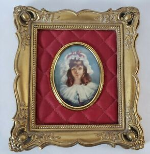 Vintage Cameo Creation Wood Frame Glass Oval Photo Lady Harriet Harrison Child