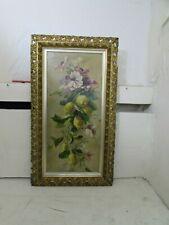 Victorian Still Life Oil Painting on Canvas Lemon Tree & Wild Roses,Ornate Frame