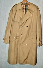 Vintage Tan Mens Trench Coat Plaid Wool Lining 2XL Belted Double Breasted XXL