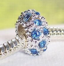 March Birthstone Blue Rhinestone Spacer Bead for Silver European Charm Bracelets