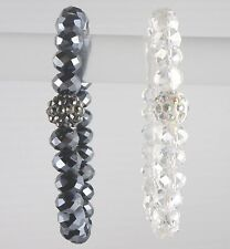 Beautiful Set of Black & Clair Crystal Beads Bracelet 7 Inches Women
