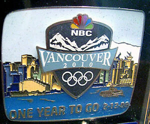 Vancouver 2010 21st Winter Olympic Games NBC One Year to Go Media Shield XL pin