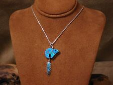 Bear and Feather Necklace Vintage Sterling Silver Opal