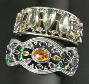 Bracelets 2 Large Silver Sterling 925 Multi Color Stones As Is Repair Large Size