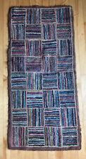 "Antique hooked rug colorful squares New England folk art design Runner 47""x 22"""