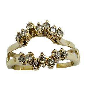14k Solid Yellow Gold Natural Diamond  Ring Enhancer